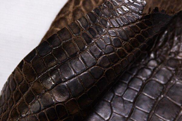 Кожа крокодила, коричневая, с эффектом пул ап (Pull Up)- kr-359