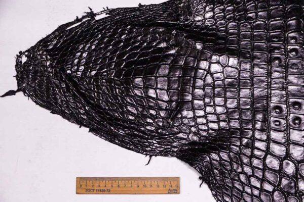 Кожа крокодила, черная- kr-366