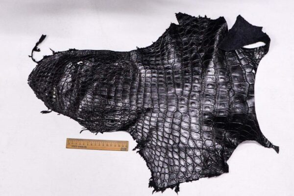 Кожа крокодила, черная- kr-368