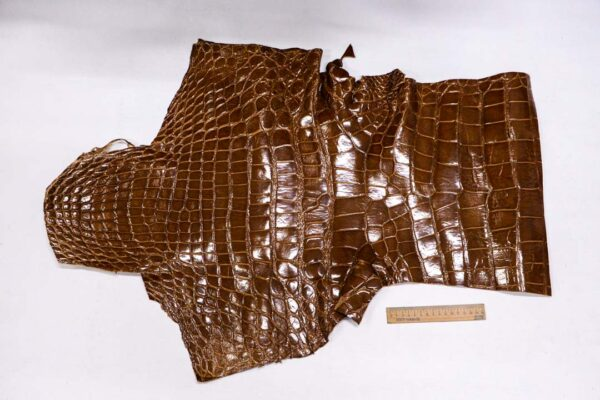 Кожа крокодила, светло-коричневая- kr-370
