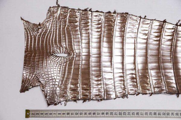 Кожа крокодила, светло-коричневая с перламутром, 60х22 см.- kr-372