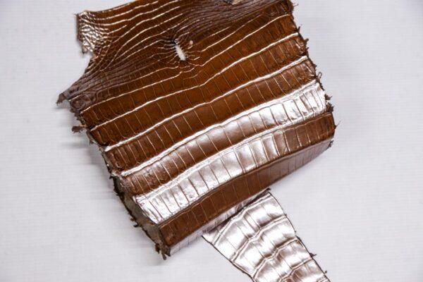 Кожа крокодила, светло-коричневая с перламутром, 82х23 см.- kr-378