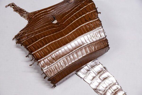 Кожа крокодила, светло-коричневая с перламутром, 70х22 см.- kr-379