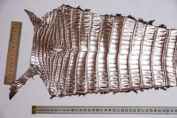 Кожа крокодила, светло-коричневая с перламутром, 57х22 см.- kr-380