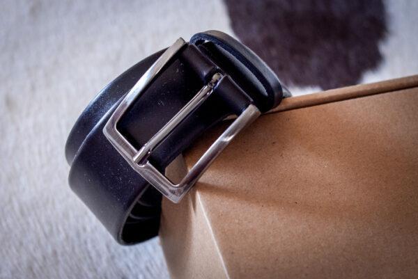 Мужской черный кожаный ремень rm-029 (124/114/3,8)