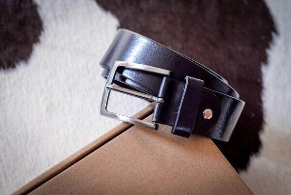 Мужской черный кожаный ремень rm-035 (123/113/3,8)