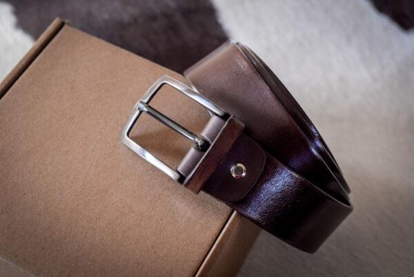 Мужской коричневый кожаный ремень rm-037 (132/120/3,8)