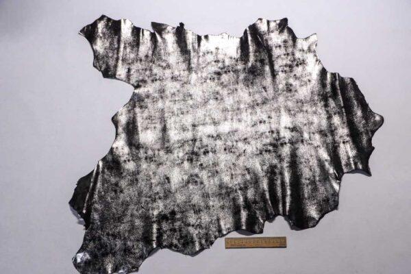 Велюр МРС (коза) с лазерным напылением, черный с серебром, 48 дм2.-110211