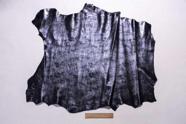 Велюр МРС (коза) с лазерным напылением, черно-синий металлик, 52 дм2.-110212