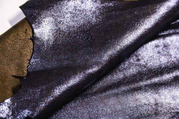 Велюр МРС (коза) с лазерным напылением, черно-синий металлик, 51 дм2.-110213