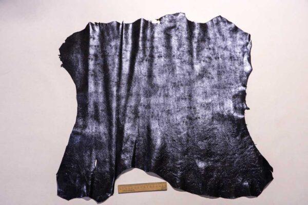 Велюр МРС (коза) с лазерным напылением, черно-синий металлик, 51 дм2.-110214