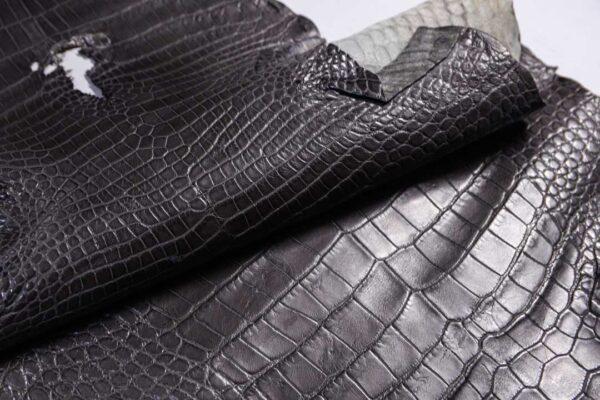 Кожа крокодила, серая, 186х42 см.- kr-385