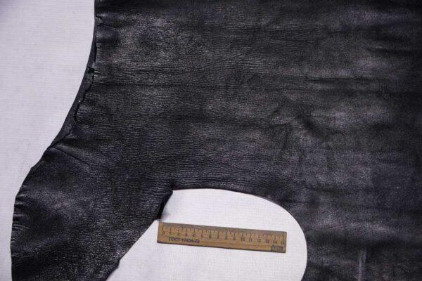 Стрейч кожа теленка, черная, 40 дм2.-110326