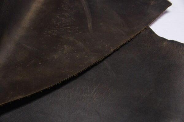 Кожа КРС крейзи хорс (Crazy Horse) с эффектом пул ап (Pull Up), темно-коричневая, 15 дм2.-1-516
