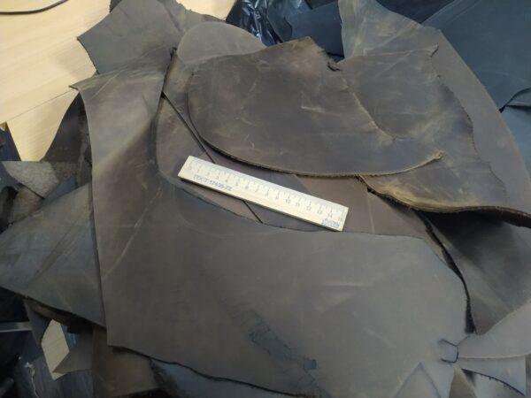 Кожа КРС крейзи хорс (Crazy Horse) с эффектом пул ап (Pull Up), темно-коричневая, - 1 кг