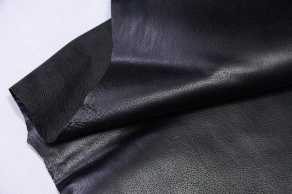 Кожподклад свиной (спилок) вощёный, черный, 71 дм2.-PT1-126