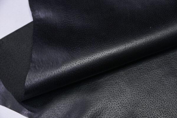 Кожподклад свиной (спилок) вощёный, черный, 63 дм2.-PT1-128