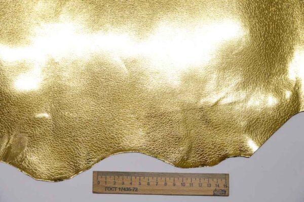 Кожа козы с принтом, золотая, 41 дм2, Conceria Stefania S. p. A.-110463