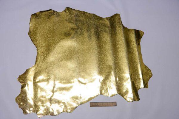 Кожа козы с принтом, золотая, 47 дм2, Conceria Stefania S. p. A.-110464