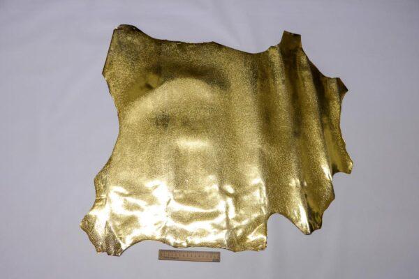 Кожа козы с принтом, золотая, 42 дм2, Conceria Stefania S. p. A.-110465