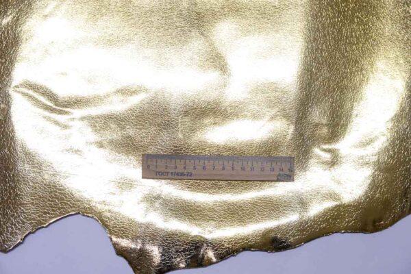 Кожа козы с принтом, золотая, 45 дм2, Conceria Stefania S. p. A.-110466