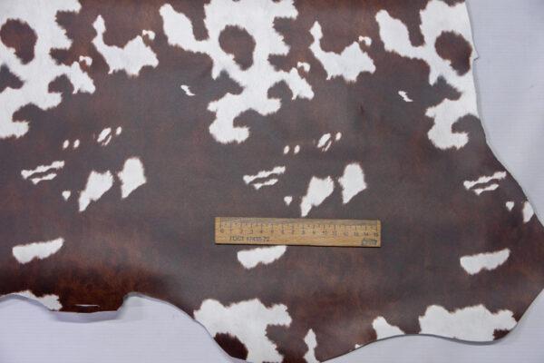 Кожа теленка с принтом, коричневая, 63 дм2.-110492