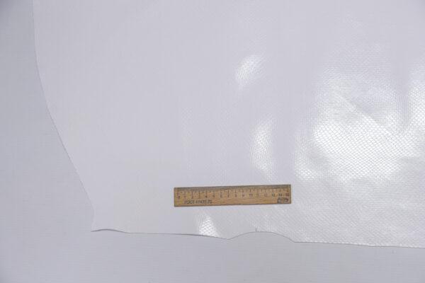 Кожа КРС с тиснением под змею, белая, 78 дм2.-110507