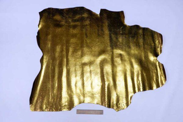 Кожа теленка с тиснением под змею, темное золото, 54 дм2, Ascot S.P.A.-110510