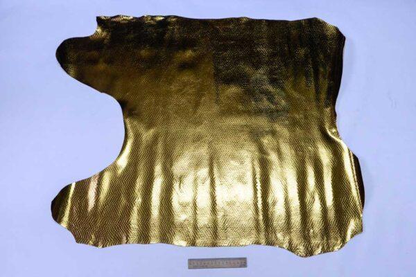 Кожа теленка с тиснением под змею, темное золото, 61 дм2, Ascot S.P.A.-110511