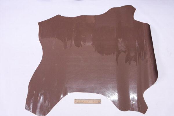 Лаковая кожа теленка, какао, 56 дм2, Dolmen S.p.A.-110526