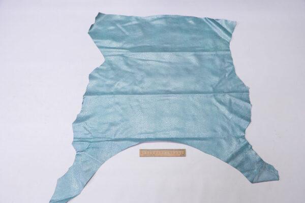 Кожа МРС с тиснением, голубая с серебром, 34 дм2.-110574