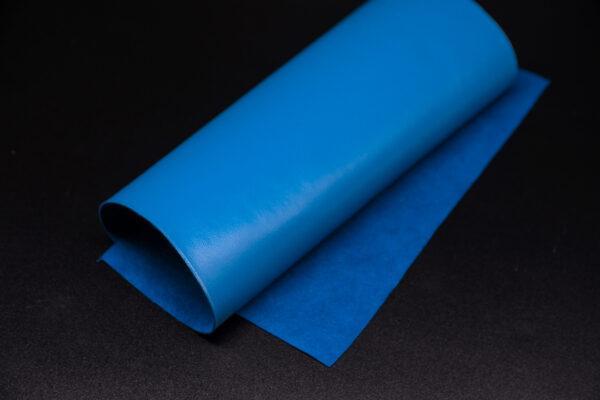 Лоскут кожи (размер А4), цвет - темно голубой Т-108