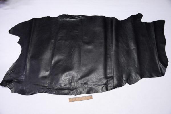 Кожподклад свиной (спилок) вощёный, черный, 70 дм2.-PT1-165