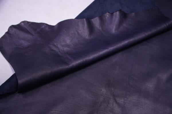 Кожа теленка краст, темно синяя, 70 дм2.-110701