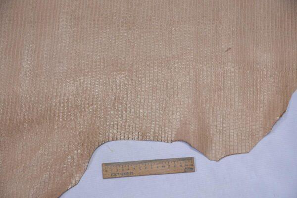 Кожа теленка тиснением, светло-бежевая, 71 дм2, Bonaudo S.p.A.-110634