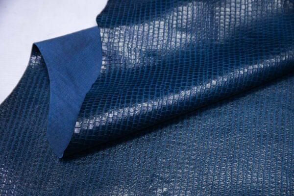 Кожа теленка тиснением, синяя, 79 дм2, Bonaudo S.p.A.-110636