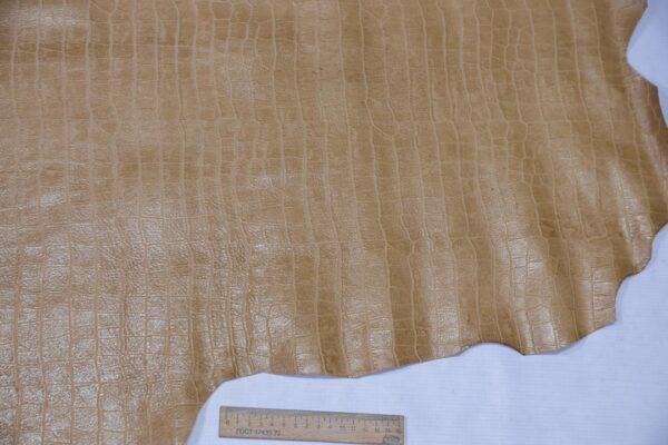 Кожа теленка тиснением, бежевая, 84 дм2, Bonaudo S.p.A.-110640