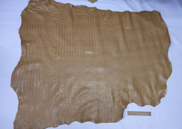 Кожа теленка тиснением, бежевая, 110 дм2, Bonaudo S.p.A.-110642