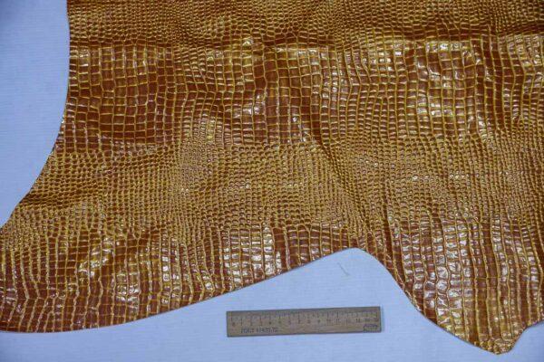 Лаковая кожа теленка тиснением, рыжая с золотом, 42 дм2, Russo di Casandrino S.p.A.-110644