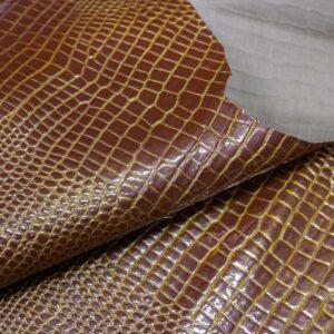 Лаковая кожа теленка тиснением, рыжая с золотом, 33 дм2, Russo di Casandrino S.p.A.-110645