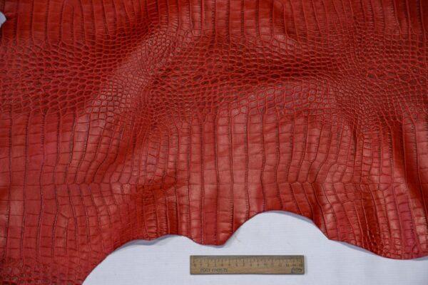 Кожа теленка тиснением, красная, 80 дм2, Bonaudo S.p.A.-110650