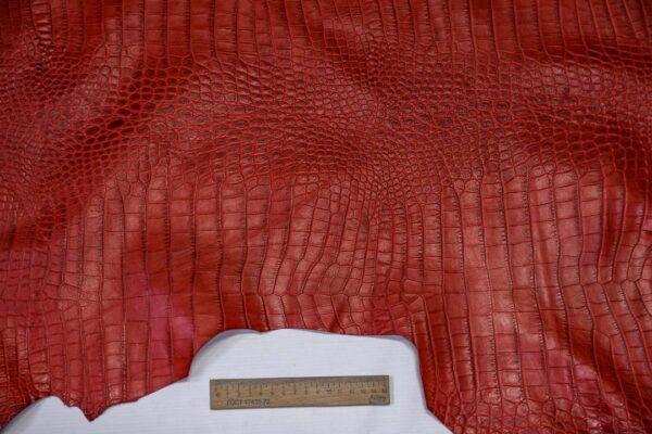 Кожа теленка тиснением, красная, 84 дм2, Bonaudo S.p.A.-110651
