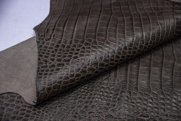 Кожа теленка тиснением, серый хаки, 70 дм2, Bonaudo S.p.A.-110654