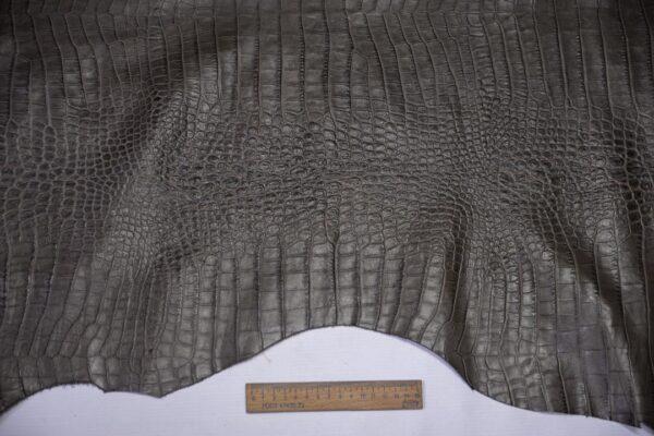 Кожа теленка тиснением, серый хаки, 71 дм2, Bonaudo S.p.A.-110656