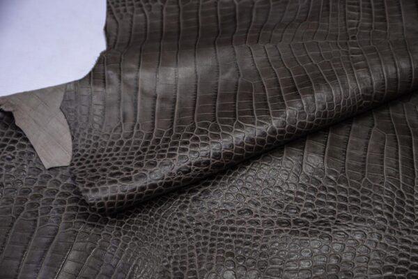 Кожа теленка тиснением, серый хаки, 91 дм2, Bonaudo S.p.A.-110657