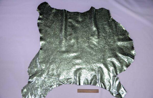 Кожа теленка тиснением, мятный металлик, 61 дм2.-110661