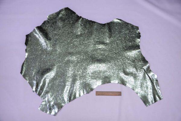 Кожа теленка тиснением, мятный металлик, 47 дм2.-110662