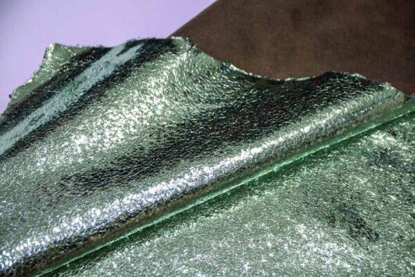 Кожа теленка тиснением, мятный металлик, 61 дм2.-110663